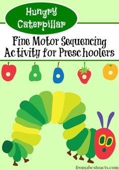 Incorporating The Very Hungry Caterpillar into our preschool numbers theme with a fine motor sequencing activity.