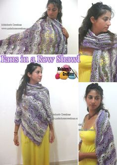 Fans in a Row Lacy Shawl– Free Crochet Pattern and video tutorials by Meladora's Creations