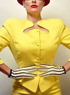 1980s Thierry Mugler citron yellow cotton pique suit  made in france EU 40. $399.99, via Etsy.