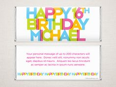 'Rainbow Party' Personalized Chocolate Bar Wrappers