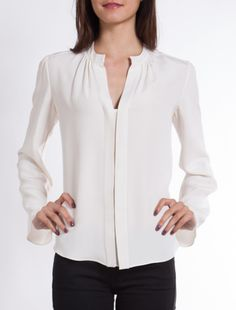 DEREK LAM BLOUSE @Shop-Hers Grey Fashion, Womens Fashion, Formal Blouses, Derek Lam, Black N White, Work Attire, Shirt Style, Casual Outfits, My Style