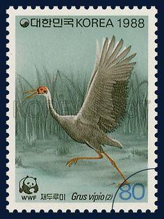 Special Postage Stamps for Wildlife Preservation, white-naped crane, Bird, Turquoise, Gray, 1988 04 01, 야생동물보호 특별, 1988년 4월 1일, 1530, 재두루미(2), postage 우표