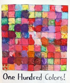 100th day of school - lots of ideas...love the one hundred colors, it's worthy of a frame and being hung up