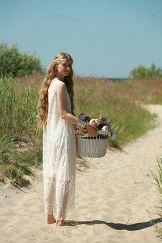 White cream lace maxi dress with white slipdress; gypsy,boho