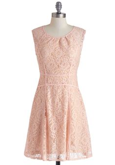 $69.99 Garden Chess Dress - Pink, Lace, Daytime Party, A-line, Sleeveless, Spring, Mid-length, Solid, Scoop