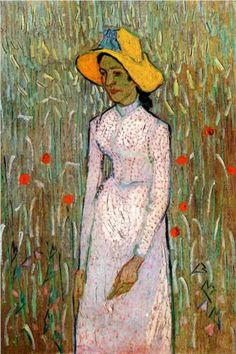 Young Girl Standing Against a Background of Wheat - Vincent van Gogh 1890