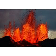 Lava fountains at the Holuhraun Fissure eruption near Bardarbunga Volcano Iceland Canvas Art - Panoramic Images (36 x 12)