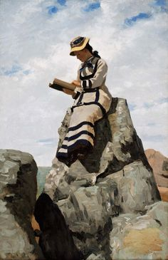 John George Brown - Reading on the Rocks, Grand Manan, about 1877.