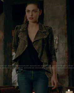 Hayley's black sweater moto jacket on The Originals Hayley The Originals, Phoebe Tonkin The Originals, Vampire Diaries Fashion, 2000s Fashion Trends, Floral Sundress, Character Outfits, Moto Jacket, Black Sweaters, Cute Outfits