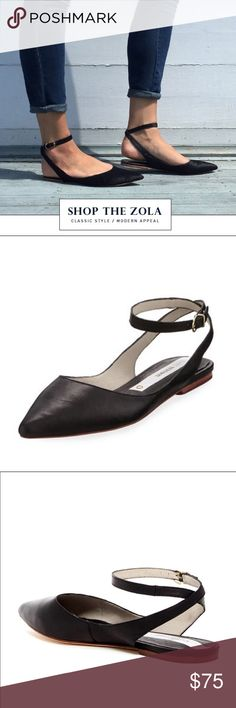 🆕 Matt Bernson Zola Wraparound Flats in Black +new without box +never worn +perfect condition  Matt Bernson Flats in a refined, pointed-toe profile. Wraparound ankle strap with buckle closure. Sported by Emma Stone.   -open heel -memory foam footbed -soft, supple leather Matt Bernson Shoes Flats & Loafers