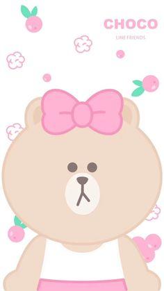 Iphone 6 Wallpaper, Kawaii Wallpaper, Pink Wallpaper, Phone Wallpapers, Melody Hello Kitty, Brown Line, Pastel Background, Line Friends, Brown Bear