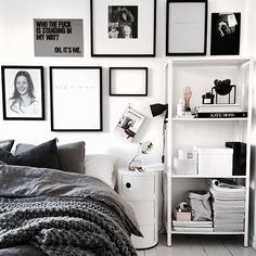 Black, grey & white bedroom