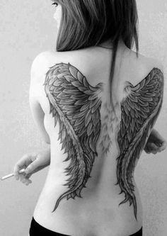 Amazing Angel Wings Tattoos for Girls on Back
