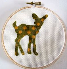 cross stitch pattern Fawn Polka Dots deer doe by pickleladyfarm, $5.00