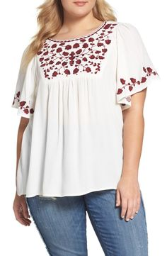 Main Image - Lucky Brand Hannah Embroidered Peasant Top (Plus Size)