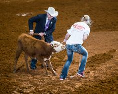 Young lady doing her best to influence a calf back into position for a scholarship at the Fort Worth Stock Show Rodeo
