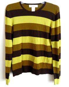 Womens JONES NEW YORK Size Medium Top Sweater Greens Brown Striped Rayon Blend…