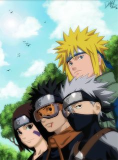 Kakashi, Obito, Rin, and Minato... Obito's death was so sad I nearly cried!!! Kakashi was a real B when he was little ya know?