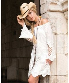 SO pretty! Union of Angels Women's Cynthia White Crochet Lace Dress #lacy Bell Sleeves off-shoulder #Floral