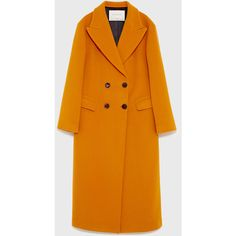LONG DOUBLE BREASTED COAT - View all-OUTERWEAR-WOMAN | ZARA United... (6 215 UAH) ❤ liked on Polyvore featuring outerwear, coats, long length coats, long coat, orange coat, double-breasted coat and double breasted long coat