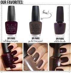 LOVE the gray in the middle OPI Paris:  Fall OPI France Collection Polishes. Love dark colors.