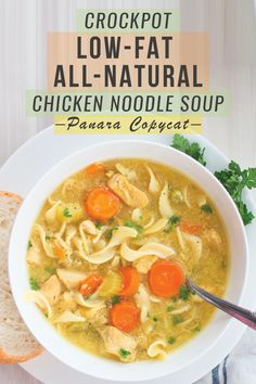 Crockpot Low-Fat All-Natural Chicken Noodle Soup I love, love, love Panera. This delicious chicken noodle soup is a must. Of course making food at home is much more budget friendly, but I've never really thought about how much I save…until now! Panera Chicken Noodle Soup, Chicken Soup Recipes, Noodle Soups, Noodle Recipes, Panera Bread Chicken Noodle Soup Recipe, Chicken Noodle Soup Calories, Slow Cooker Huhn, Slow Cooker Chicken, Freezer Chicken