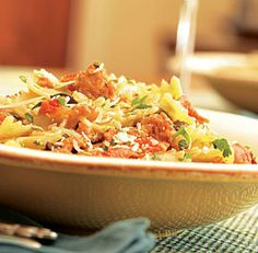 pasta with sausage, olives, sun-dried tomatoes