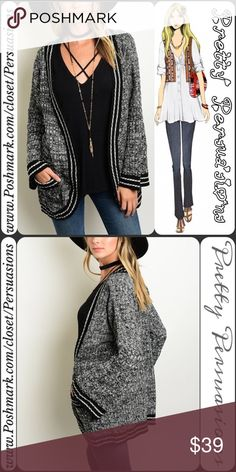 """Black & White Striped Bell Sleeve Kimono Cardigan NWT Black & White Striped Trim Bell Sleeve Cardigan  Available in S, M, L Measurements taken from a small  Length: 30"""" Bust: 38"""" Waist: 38""""  100% Acrylic   Features  • black & white striped trim • relaxed, easy fit • open front • front pockets • slight bell sleeve  • super cozy, soft material   Fair offers welcome-Plz use offer option  Bundle discounts available  No pp or trades   Item # 1/108190390BWSC fall striped marled knit black white…"""