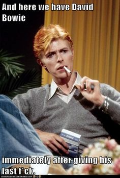 """David Bowie, smoking a Gitane, is interviewed on 'Good Morning America' in Los Angeles, California. Photo by Michael Ochs. Freddie Mercury, Anthony Kiedis, Lauryn Hill, Carl Jung, David Bowie Smoking, David Bowie Meme, David Bowie Interview, Sainte Claire, Ziggy Played Guitar"