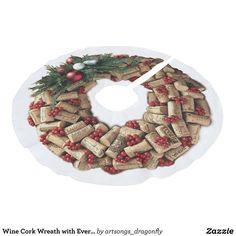 Wedding Color Schemes, Wedding Colors, Wine Tree, Wine Cork Wreath, Cork Tree, Holiday Festival, Burlap Wreath, Tree Skirts, Evergreen