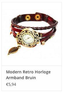 Modern Retro Horloge Armband Bruin € 5,94 www.ovstore.nl/nl/meer-categorieen/sieraden