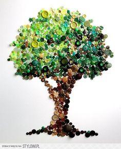 Button Tree -- Spectacular Rainbow Button Art by Karen Hurley - My Modern Metropolis Crafts To Do, Arts And Crafts, Button Picture, Button Crafts, Button Art Projects, Art Plastique, Diy Art, Artsy, Crafty