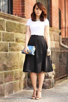 She always dresses so smartly. My inspo. :)    Zara tee, Lulu's sequined collar, American Apparel skirt, Marc Jacobs sandals, Marc Jacobs clutch, Kendra Scott earrings