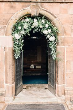 Flower Arch Church Greenery Foliage Hydrangea Rose Llanrhaeadr Springs Wedding Jessica Reeve Photography church wedding Llanrhaeadr Springs Wedding Magical & Unforgettable Classic Champagne with Rustic Décor Pinecone Wedding Decorations, Ceremony Decorations, Church Decorations, Flowers Decoration, Hortensia Rose, Church Wedding Flowers, Church Weddings, Romantic Weddings, Hydrangea Wedding Flowers