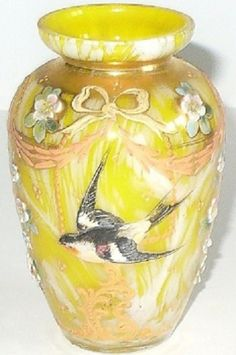 C1900 Comfortable And Easy To Wear Reasonable Rare Antique Bohemian Hand Blown Vase Pottery & Glass