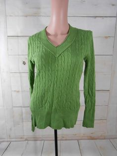 Currently on sale! Bonita Bargains Item: 336931 -- Ann Taylor Loft Cotton Pea Green Cable Knit Womens M V Neck Pullover Sweater