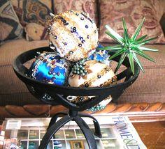 Vintage ornaments made by Grandma Warner.
