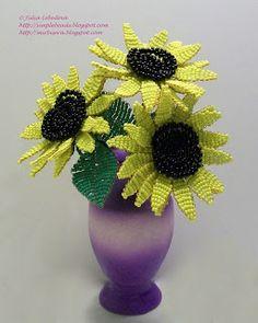 Beaded sunflower. Free detailed tutorial.