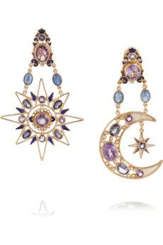 Percossi Papi Sun and Moon rose gold-plated multi-stone earrings | NET-A-PORTER