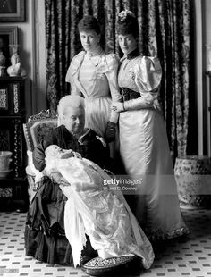 Queen Victoria at the christening of her great grandson, the future King Edward VIII, with the baby's mother the Duchess of York (later Queen Mary) and grandmother the Princess of Wales (later Queen Alexandra). Queen Victoria Family, Queen Victoria Prince Albert, Victoria Reign, Victoria And Albert, Princess Victoria, Princess Mary, Prince And Princess, Baby Prince, Queen Mary