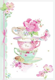 Lynn Horrabin - by anita Tee Kunst, Art Carte, Decoupage Paper, Vintage Tea, Belle Photo, Envelopes, Tea Time, Illustration, Tea Pots