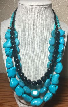 A personal favorite from my Etsy shop https://www.etsy.com/listing/274831578/turquoise-and-black-howlite-beaded