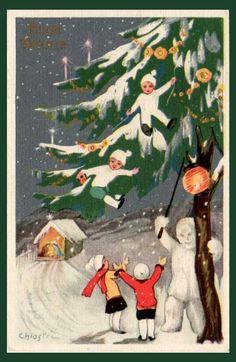 Sofia Chiostri (Italian 1898-1945) - Vintage Art Deco Christmas card