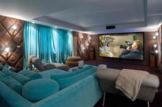 Featured, Pleasing White Lighting Illuminate Brown Theater Room With Large Turquoise Sofa Bed In Front Of Tv Screen ~ Incredible Theater Idea Application inside your Home