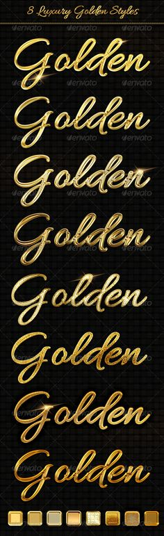 8 Luxury Golden Text Styles #GraphicRiver To add the style .asl file, double click on .asl file or go to the panel with the styles in Photoshop and load them manually. You can also simply copy from one layer to another. Remember, that colour base of layer is important!