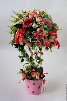 """Купить Топиарий, дерево счастья """"Фантазии"""" - розовый, топиарий, топиарий дерево счастья"""