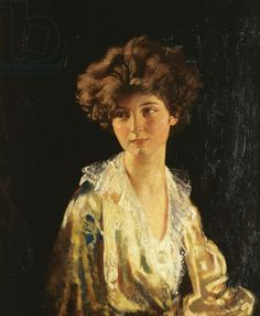 Portrait of Lady Evelyn Herbert, half length, (oil on canvas) by Sir William Orpen (Irish 1878-1931) *