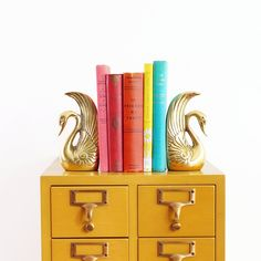 Mid Century Brass Swan Bookends
