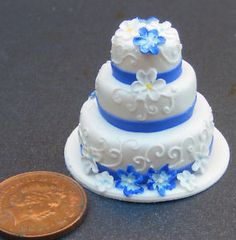 Wedding Cake With Flowers Dolls House Miniature Z | eBay