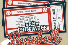 Free Printable Baseball Tickets Baseball Invitations, Baseball Tickets, Baseball Gifts, Ticket Invitation, Printable Invitations, Baseball Birthday, Baseball Party, 1st Boy Birthday, Birthday Ideas
